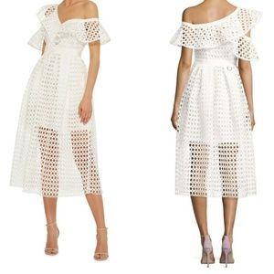 SELF-PORTRAIT Lace Frill Midi Cold Shoulder Dress
